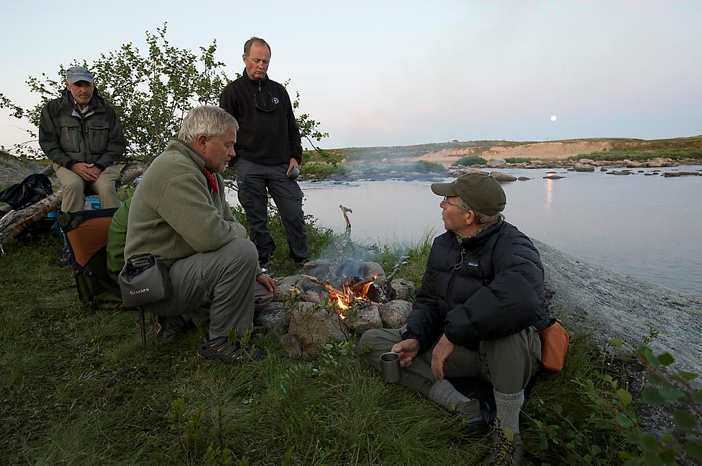 Campfire in the evening before night fishing.