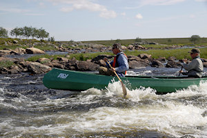 Morten and Pål paddling a rapid - click on image to enlarge