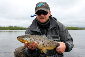 trond with a nice trout from the sami cabing, notice the red spot.