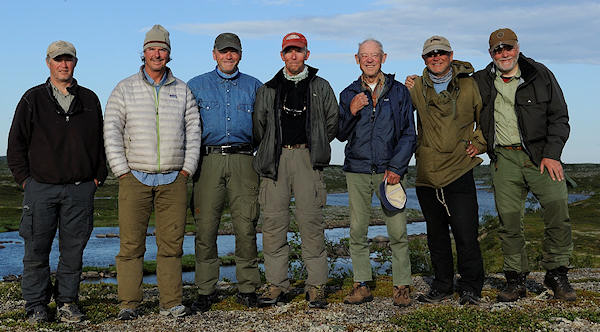 From left: Per Sonderup Nielsen, Morten Aass, Oivind Lund, Pal Krogvold (group leader), Per Aass (mortens father, 85 years), Kjell Somme, Edvard Bergene