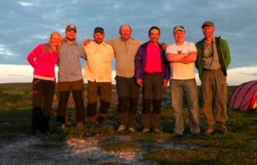 Group from the left: Marie, Trond, Geir, Christian, Olivier, chef/guide Igor and group leader Pål