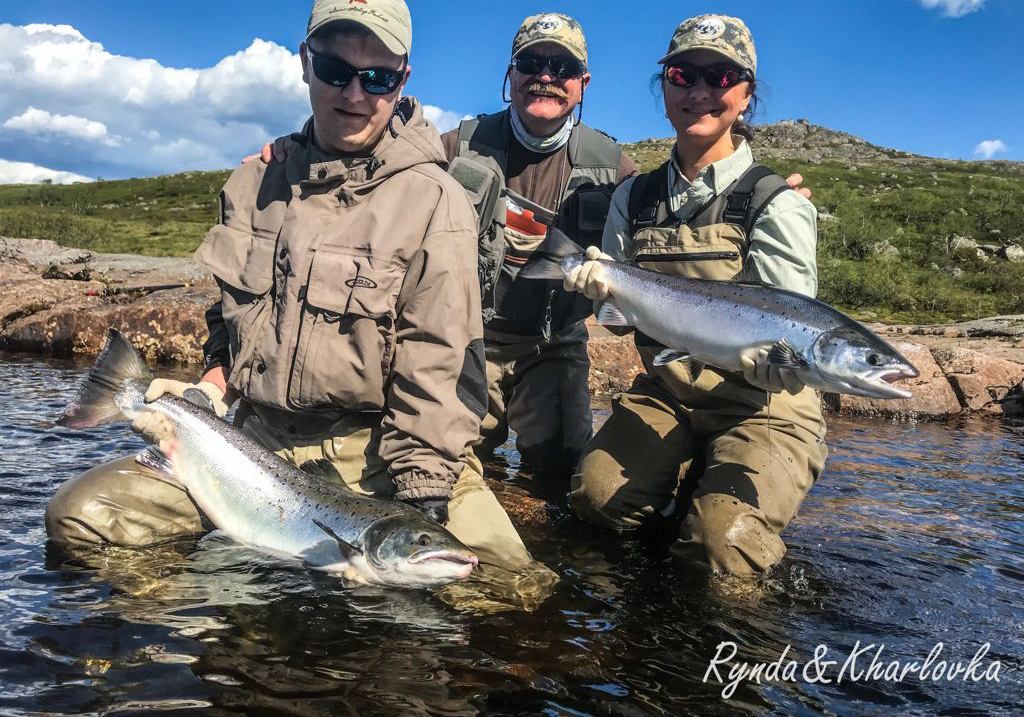 Very-keen-fly-fishing-family-from-Murmansk-(Vladimir_Tatyana_and-son)-with-their-catch-at-Rock-Island-